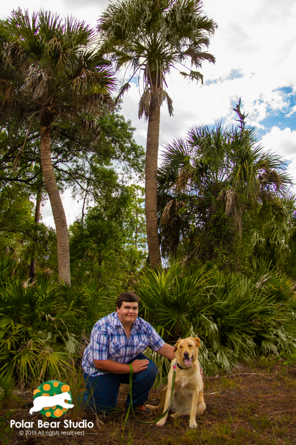 Lab Retriever Mix and her Guy, Senior Photos, Palmetto Fronds, Photo by Polar Bear Studio