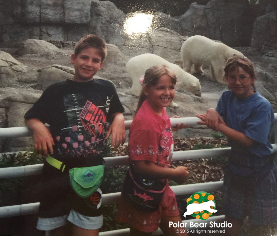 90s kids wearing fanny backs at the Indianapolis Zoo polar bear exhibit | Photo by Polar Bear Studio, Copyright 2015